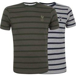GRY/NVY M SALT AND PEPPER STRIPE TEE