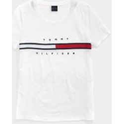 Tommy Hilfiger Women's Adaptive Stripe Signature T-Shirt Bright White - XL found on Bargain Bro Philippines from Tommy Hilfiger for $39.50