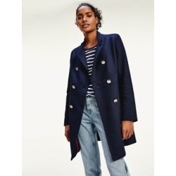 Tommy Hilfiger Women's Double-Breasted Military Coat Desert Sky - 6