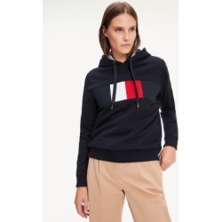 Tommy Hilfiger Women's Block Flag Hoodie Navy - S