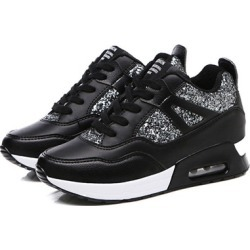 Low-Cut Upper Sequin Lace-Up Round Toe Glitter Womens Sneakers
