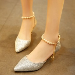 Pointed Toe Stiletto Heel Beads Sequin Exquisite Womens Pumps