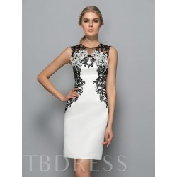 Sheath Jewel Neck Appliques Knee-Length Formal Dress found on MODAPINS from Tbdress for USD $335.00