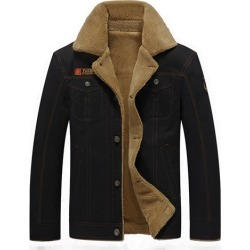 Lapel Thicken Warm Fleece Cotton Slim Fit Mens Casual Jacket
