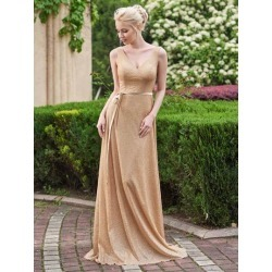 Shining V-Neck Straps Golden Sequins Bridesmaid Dress found on MODAPINS from Tbdress for USD $216.25