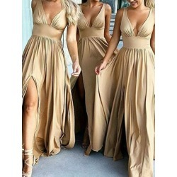 Deep V-Neck A-Line Split-Front Long Bridesmaid Dress found on MODAPINS from Tbdress for USD $182.69