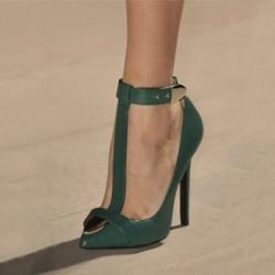 Pointed Toe T-Shaped Buckle Womens Pumps