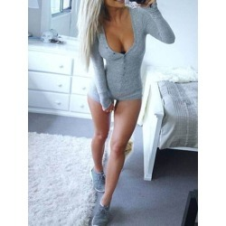 Shorts Plain Casual Slim Womens Romper