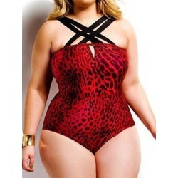 Sexy Cross Bandage Print Plus Size One Piece Swimsuit