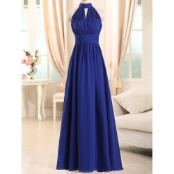 Choker Neck Pleats Long Bridesmaid Dress found on MODAPINS from Tbdress for USD $183.77