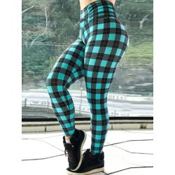 Plaid Color Block Sports Casual Womens Leggings