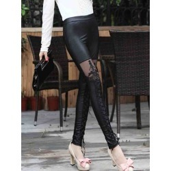 Plain Lace Slim Womens Leggings