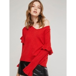 Ruffle V-Neck Loose Womens Sweater