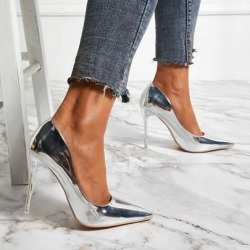 Metallic Pointed Toe Slip-On Sexy Womens Pumps