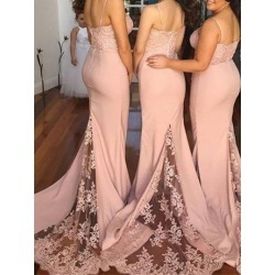 Spaghetti Straps Appliques Mermaid Bridesmaid Dress found on MODAPINS from Tbdress for USD $215.14