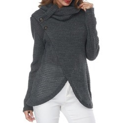 Heap Collar Aysmmetric Hem Button Womens Sweater