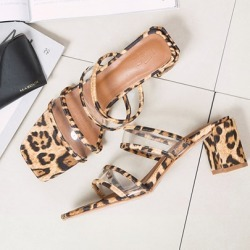 Stiletto Heel Leopard Slip On Womens Sandals