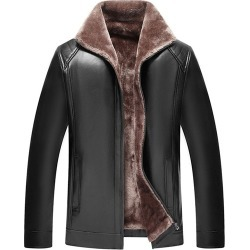 Plain Lapel Standard Slim Mens Leather Jacket found on MODAPINS from Tbdress for USD $79.95