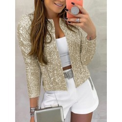Straight Long Sleeve Standard Sequins Womens Jacket