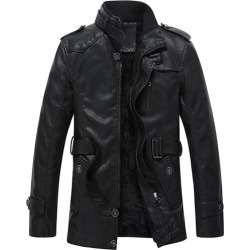 Standard Plain Zipper Slim Mens Leather Jacket found on MODAPINS from Tbdress for USD $126.68