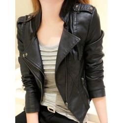 Lapel PU Short Zipper Slim Womens Jacket