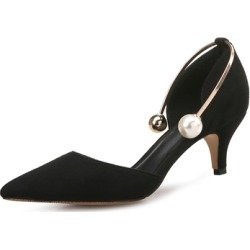 Suede Beads Slip On Pumps title=