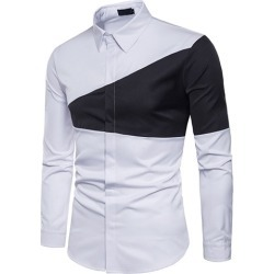 Triangle Patchwork Lapel Mens Dress Shirt found on MODAPINS from Tbdress for USD $49.90