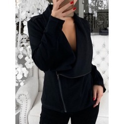 Zipper Straight Long Sleeve Mid-Length Womens Jacket