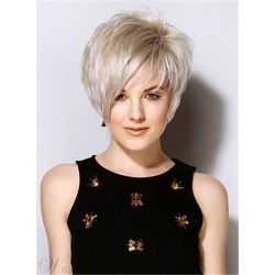 Popular Short Straight Haircuts Synthetic Hair Side Swept Friinges Capless Wigs 8 Inches