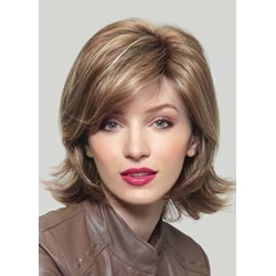 Natural Looking WomenS Short Shaggy Straight Human Hair Wigs 120% Density Lace Front Wig 16inch