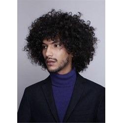Mid Lenth Kinky Curly Synthetic Hair Mens Wig