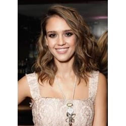 Jessica Alba Hairstyle Medium Natural Wavy 14 Inches 100% Human Hair Lace Wig