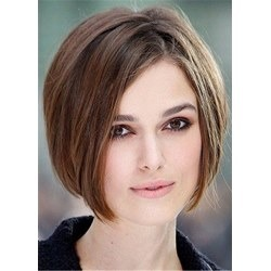 Short Bob Side Parted Human Hair Natural Straight Wig
