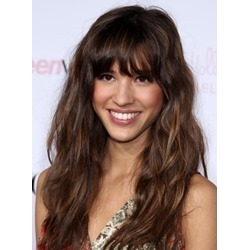 Top Quality Glamour Celebrity Hairstyle Long Loose Wavy Capless 100% Human Hair Wig with Full Bang 18 Inches