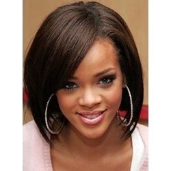 Rihanna Hairstyle Medium Bob Straight Lace Front Human Hair Wig 14 Inches