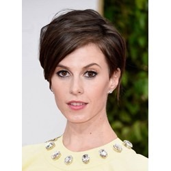 Stylish Short Layered Straight Full Lace 100% Human Hair Wig