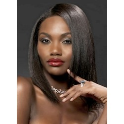 Glossy Elegant Top-Quality American African Trendy Medium Straight Front Lace 14 Inches 100% Human Hair Wig