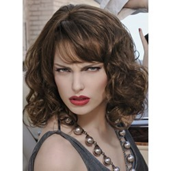 Fashion Medium Bob Hairstyle 14 Inches Big Curly 100% Human Hair Wig
