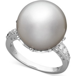 14k White Gold Ring, Cultured South Sea Pearl (14mm) and Diamond (1/5 ct. t.w.) Ring found on MODAPINS from Macy's Australia for USD $3906.19