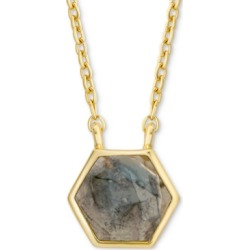 "Labradorite Hexagon 18"" Pendant Necklace in 18k Gold-Plated Sterling Silver"