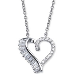 """Giani Bernini Cubic Zirconia Open Heart 18"""" Pendant Necklace in Sterling Silver, Created For Macy's"""