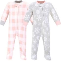 Hudson Baby Baby Girls Snowflake Fleece Sleep and Play