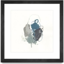 """Giant Art Teal Gesture I Matted and Framed Art Print, 36"""" x 36"""""""