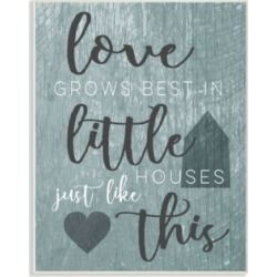 """Stupell Industries Love Grows Best In Little Houses Gray Illustration Wall Plaque Art, 10"""" x 15"""""""