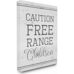 Stupell Industries Caution Free Range Children Canvas Wall Art, 30