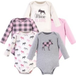 Hudson Baby Girls Long-Sleeve Moose Bodysuits, Pack of 5 found on Bargain Bro India from Macy's for $20.99