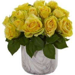 Nearly Natural Rose Artificial Arrangement in Marble Finished Vase