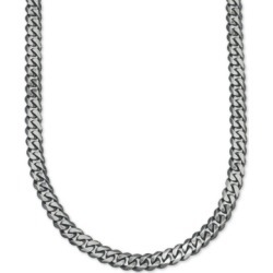 Esquire Men's Jewelry Antique Curb Link (5-1/4mm) Chain in Sterling Silver, Created for Macy's