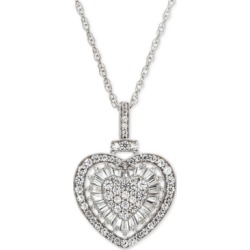 """Diamond Heart 18"""" Pendant Necklace (1/2 ct. t.w.) in 14k white gold (Also Available in Rose Gold)"""