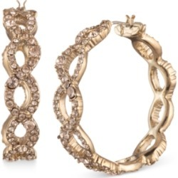 Givenchy Gold-Tone Medium Pave Twist Hoop Earrings, 1.25